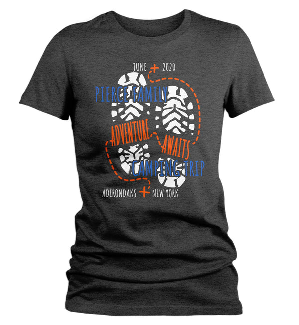 Women's Personalized Camping T Shirt Adventure Awaits Shirt Custom Hiking Shirt Hipster Shirts Adventure Tee-Shirts By Sarah