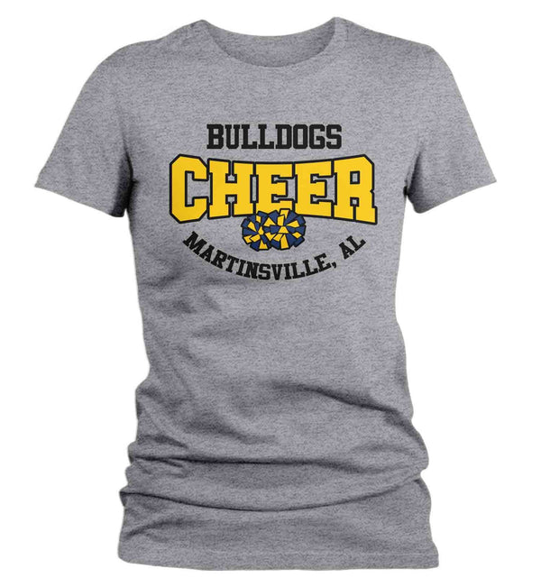 Women's Personalized Cheer T Shirt Pom Pom Mascot Cheerleader Shirts Cheer Mom T Shirt Pom Shirts-Shirts By Sarah