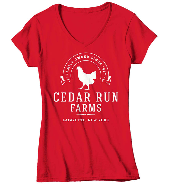Women's V-Neck Personalized Chicken Farm T Shirt Hen Farm Shirt Farmer Gift Idea Custom Fowl Bird Shirt Rancher Shirts Ladies V-Neck-Shirts By Sarah