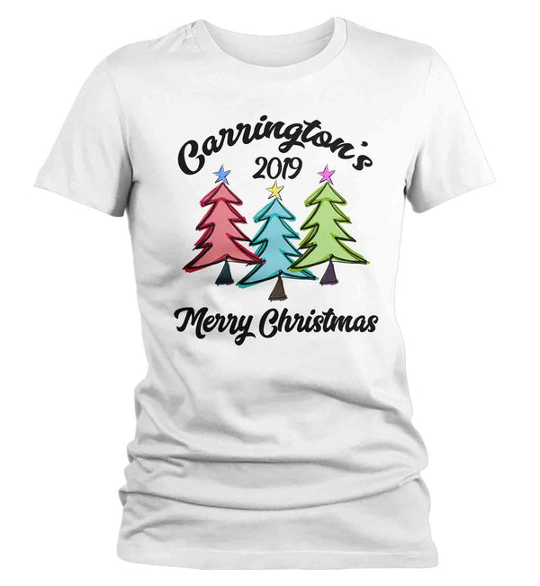 Women's Personalized Christmas Shirt Custom Family Christmas Tree Shirt Cute Matching Christmas Shirts Trees Christmas Pajama Shirt-Shirts By Sarah