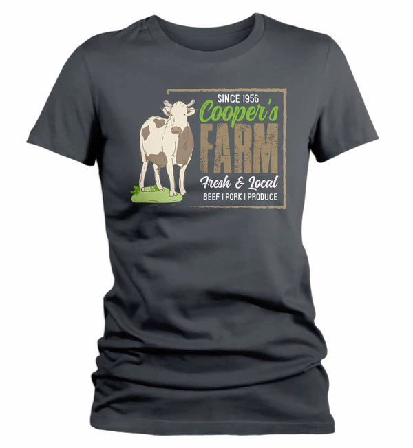 Women's Personalized Farm T Shirt Vintage Cow Farmer Shirt Farmer Gift Idea Custom Dairy Farm Cow Tee Shirts Customized TShirt-Shirts By Sarah