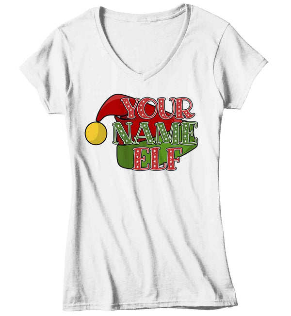 Women's Personalized Elf T Shirt Custom Elf Shirt Cute Christmas Shirts Xmas Elf Shirt Hat Shirts Elves Shirt-Shirts By Sarah