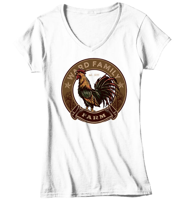Women's V-Neck Personalized Farm T Shirt Rooster Shirt Vintage Farmer Shirt Farming Shirt Custom Farm Tees Farmer Gift Idea-Shirts By Sarah