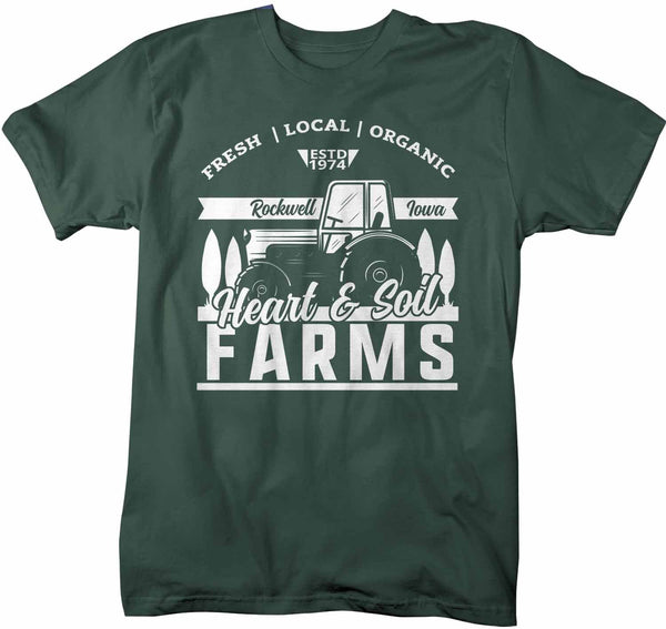 Men's Personalized Farm T Shirt Vintage Tractor Shirt Farmer Gift Idea Custom Tractor Field Tee Shirts Customized TShirt-Shirts By Sarah