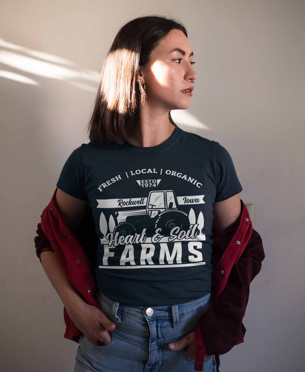 Women's Personalized Farm T Shirt Vintage Tractor Shirt Farmer Gift Idea Custom Tractor Field Tee Shirts Customized TShirt-Shirts By Sarah