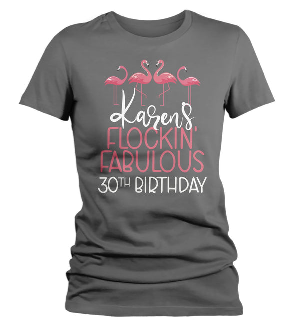 Women's Personalized Birthday T Shirt Custom Flamingo Shirt Personalized Birthday Shirts Funny Birthday Shirts-Shirts By Sarah