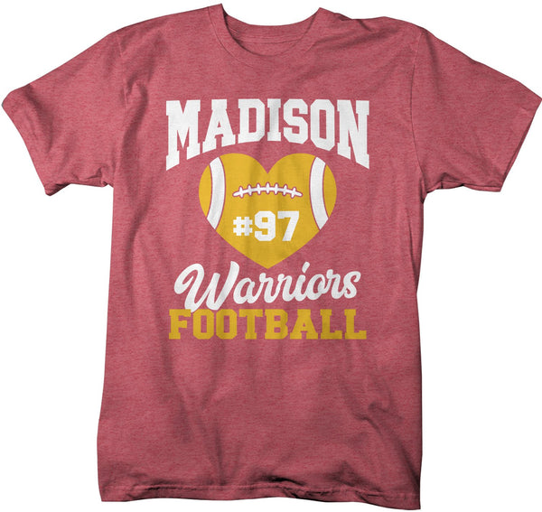 Men's Personalized Football Mom T Shirt Custom Football Shirts Heart Football T Shirt Personalized Team Shirts-Shirts By Sarah