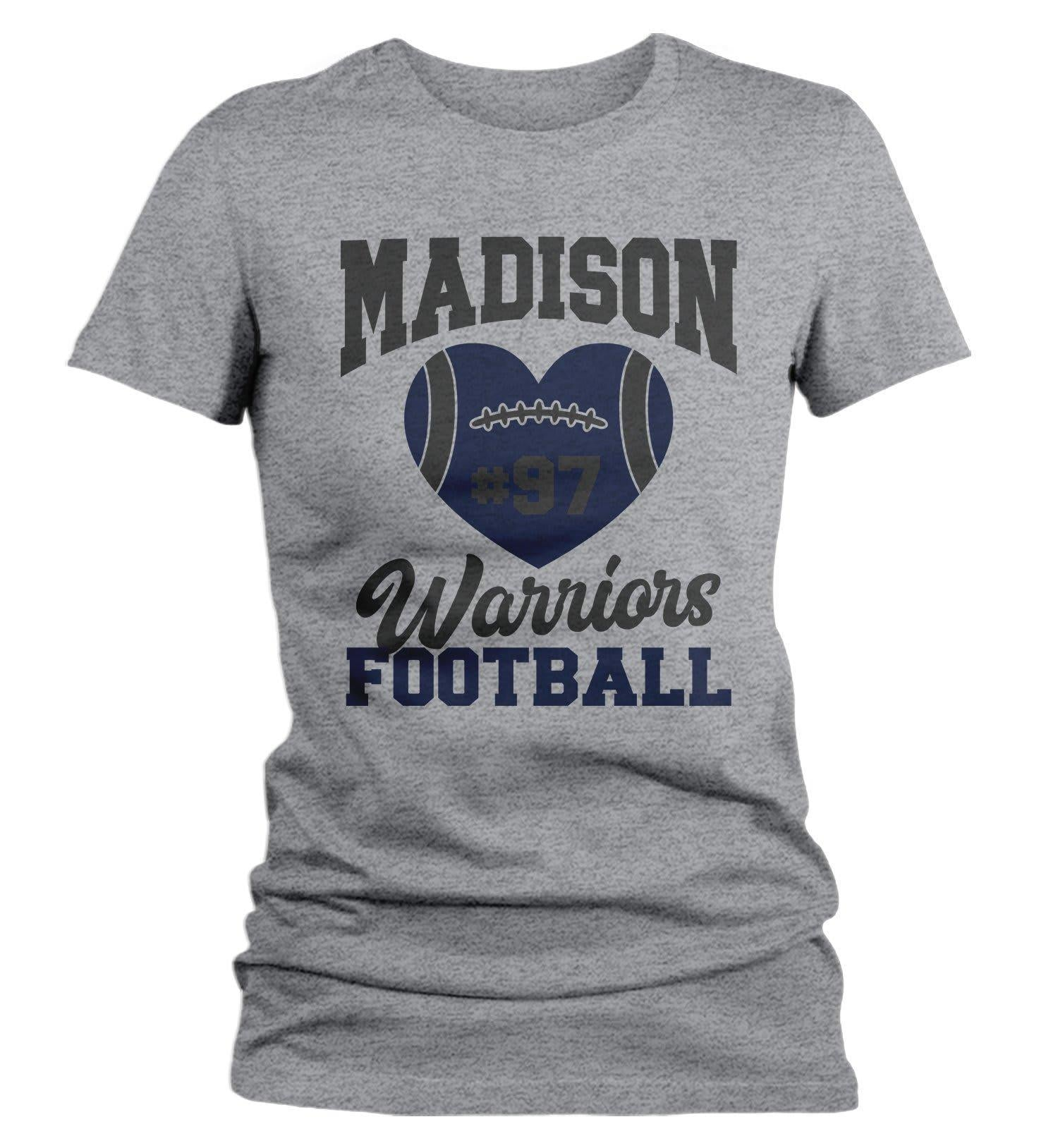 d612142c21fc0 Women's Personalized Football Mom T Shirt Custom Football Shirts Heart  Football T Shirt Personalized Team Shirts