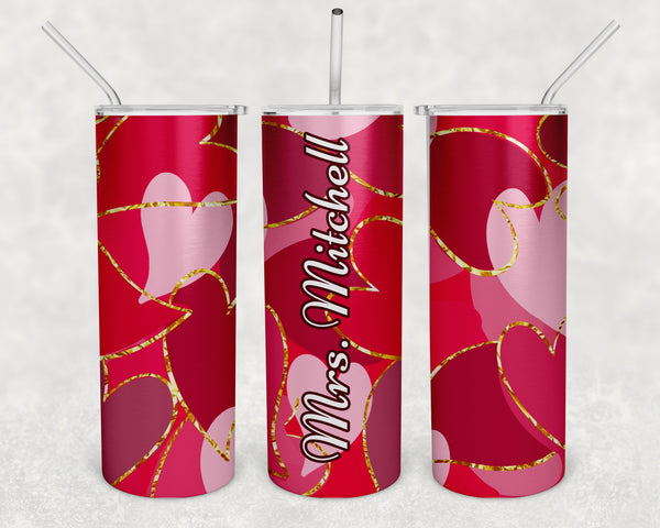 20 Oz. Personalized Tumbler Valentine's Day Thermos Water Bottle Stainless Steel Straw Lid St Hearts Teacher Gift Cup Drink-Shirts By Sarah