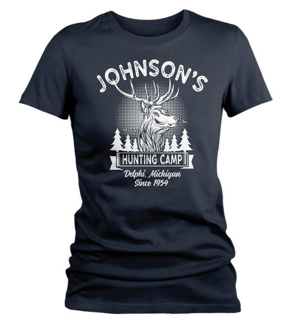 Women's Personalized Hunting T Shirt Deer Hunter Cabin Shirts Custom Camp Shirt Camping T Shirts Ladies Woman-Shirts By Sarah
