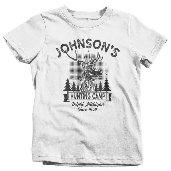 Kids Personalized Hunting T Shirt Deer Hunter Cabin Shirts Custom Camp Shirt Camping T Shirts Boys Girls Youth-Shirts By Sarah