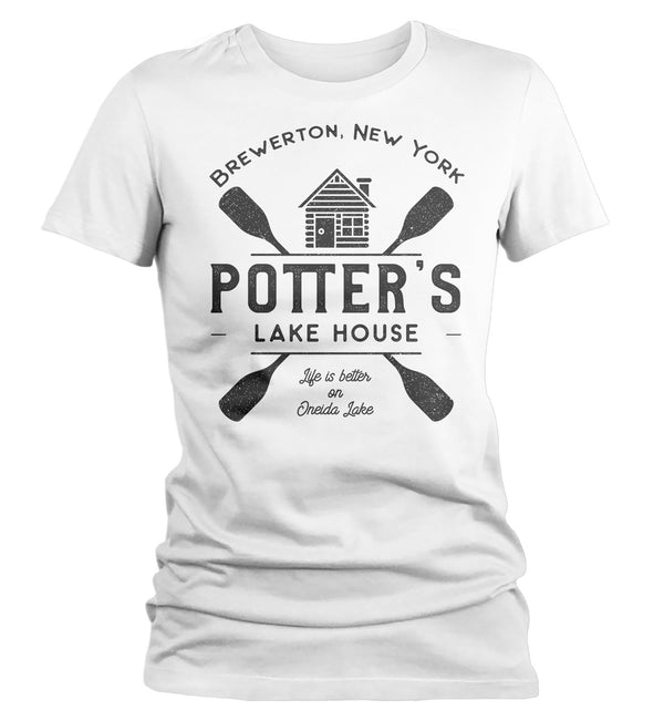 Women's Personalized Lake House T Shirt Life Is Better At Cabin Shirts Custom Camp Shirt Camping T Shirts Ladies Woman-Shirts By Sarah