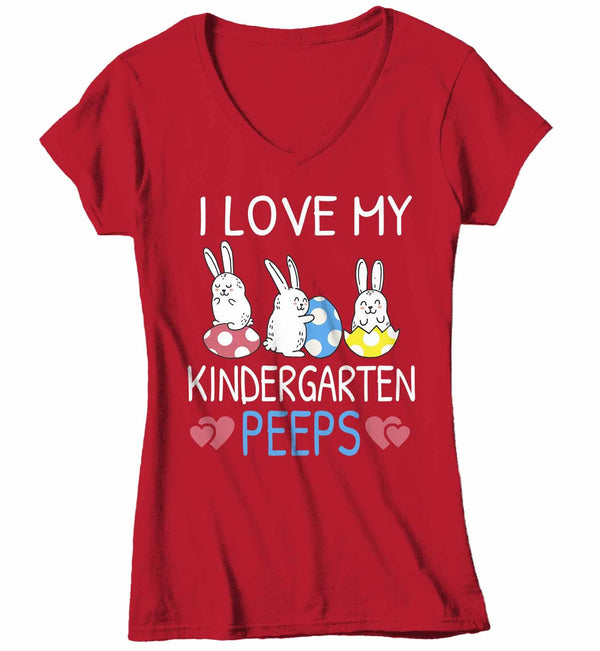 Women's V-Neck Personalized Easter Teacher T Shirt Love My Peeps Shirt Teacher Easter Shirt Cute Teacher Rabbit Shirt-Shirts By Sarah