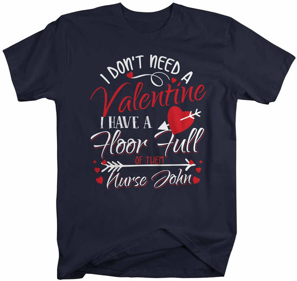 Men's Personalized Nurse T Shirt Valentine's Day Nurse Shirts Floor Full Of Valentines TShirt Cute Nurse Tee-Shirts By Sarah