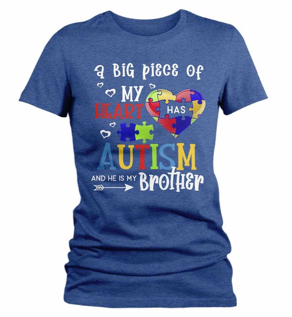 Women's Personalized Autism T Shirt Piece Of My Heart Shirts Custom Shirts Autism Shirt Custom Autism Shirt-Shirts By Sarah