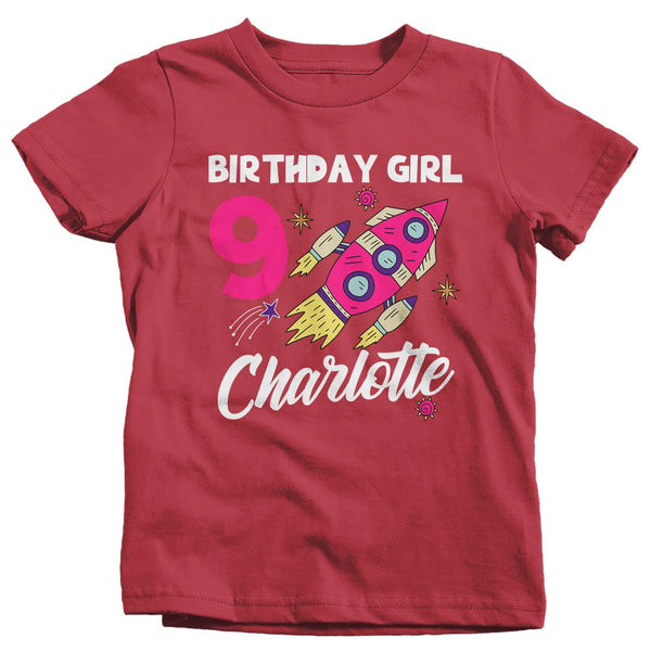 Girl's Personalized Birthday Shirt Birthday Rocket Space Shirts Name Number T Shirt Custom Shirts-Shirts By Sarah