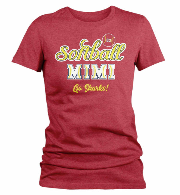 Women's Personalized Softball T Shirt Custom Softball Shirts Softball Mom T Shirt Personalized Softball Grandma Shirts-Shirts By Sarah