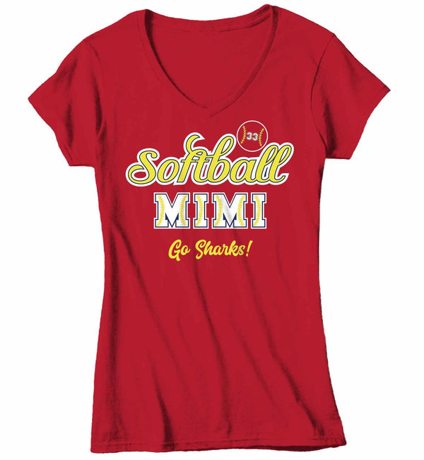 Women's V-Neck Personalized Softball T Shirt Custom Softball Shirts Softball Mom T Shirt Personalized Softball Grandma Shirts-Shirts By Sarah