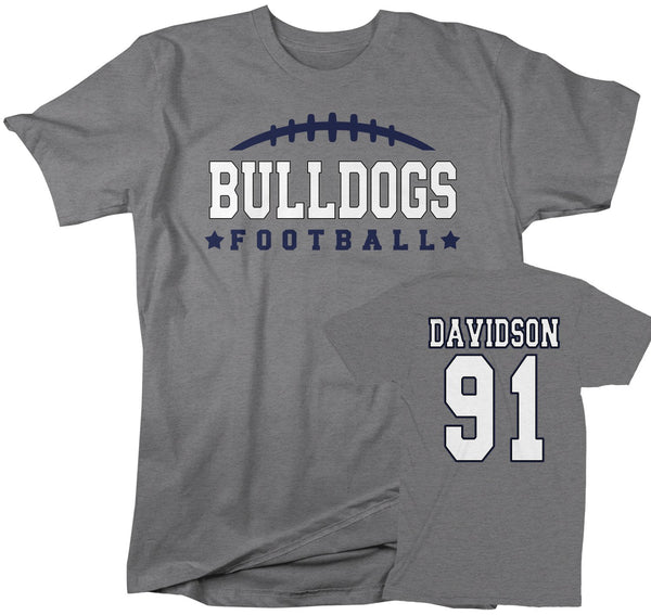 Men's Personalized Football T Shirt Custom Football Dad Shirt Personalized Football Rear Printed Custom Shirts-Shirts By Sarah