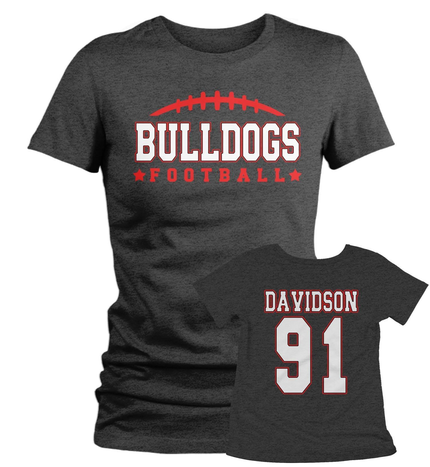 shop for official world-wide selection of nice cheap Women's Personalized Football T Shirt Custom Football Mom Shirt  Personalized Football Rear Printed Custom Shirts