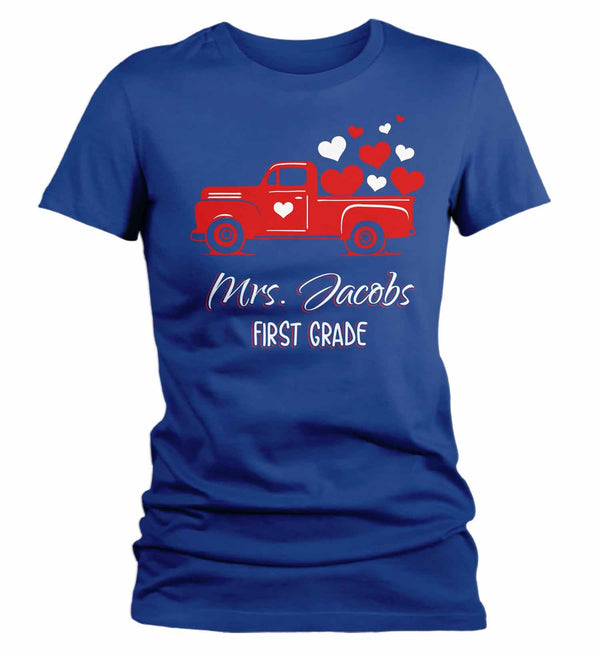 Women's Personalized Nurse T Shirt Valentine's Day Truck Teacher Shirts Vintage Valentines Truck TShirt Cute Nurse Tee-Shirts By Sarah