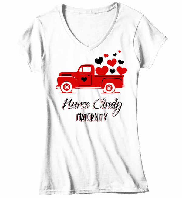 Women's V-Neck Personalized Nurse T Shirt Valentine's Day Truck Teacher Shirts Vintage Valentines Truck TShirt Cute Nurse Tee-Shirts By Sarah