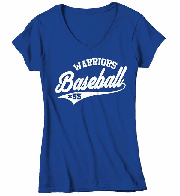 Women's V-Neck Custom Baseball T Shirt Personalized Vintage Shirts Baseball Parent T Shirt Personalized Shirt Vintage Baseball-Shirts By Sarah