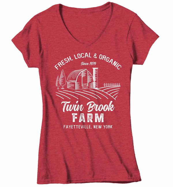 Women's V-Neck Personalized Farm T Shirt Vintage Farmer Shirt Farmer Gift Idea Custom Barn Tee Shirts Customized TShirt-Shirts By Sarah