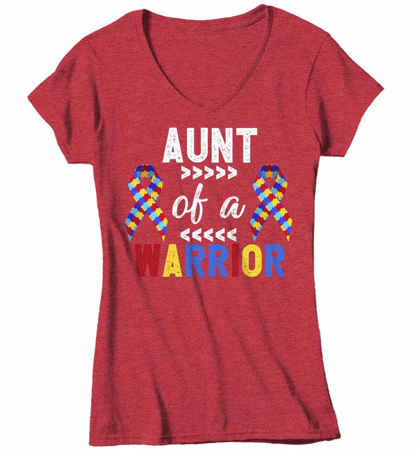 Women's V-Neck Personalized Autism T Shirt Aunt Of Warrior Shirts Custom Shirts Grandma Mom Shirt Custom Autism Shirt-Shirts By Sarah