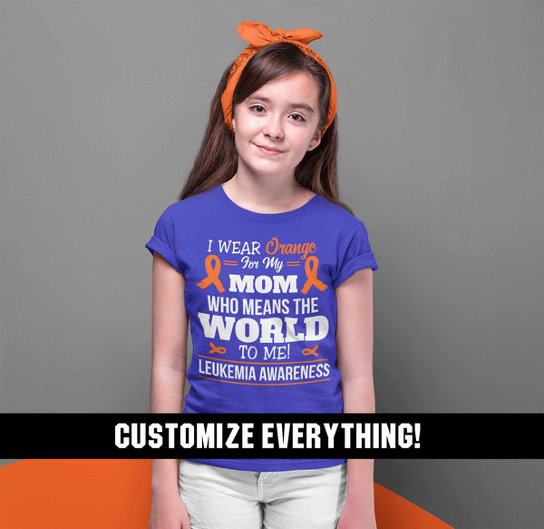 Kids Personalized Orange Ribbon T Shirt Wear Orange For Multiple Sclerosis Shirt Leukemia Shirt Personalized Shirts-Shirts By Sarah