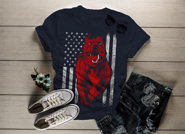 Shirts By Sarah Women's American Pitbull T-Shirt USA Flag Patriotic Dog Shirts-Shirts By Sarah