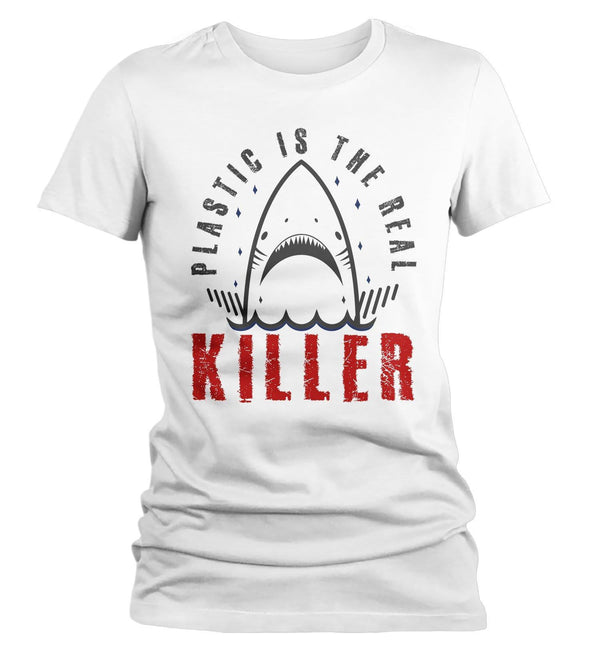 Women's Funny Shark T Shirt Plastic Is Killer Shirts Funny Shark Shirts Hipster Anti Plastic Shirt Environmental Shirts-Shirts By Sarah