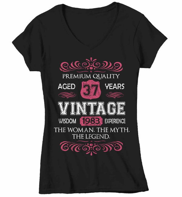 Women's V-Neck Vintage Birthday T Shirt Myth Legend Custom Birthday Month Shirt 40th Birthday 50th Birthday 30th Birthday 60th Birthday Shirt-Shirts By Sarah