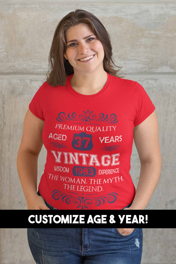Women's Vintage Birthday T Shirt Myth Legend Custom Birthday Month Shirt 40th Birthday 50th Birthday 30th Birthday 60th Birthday Shirt-Shirts By Sarah