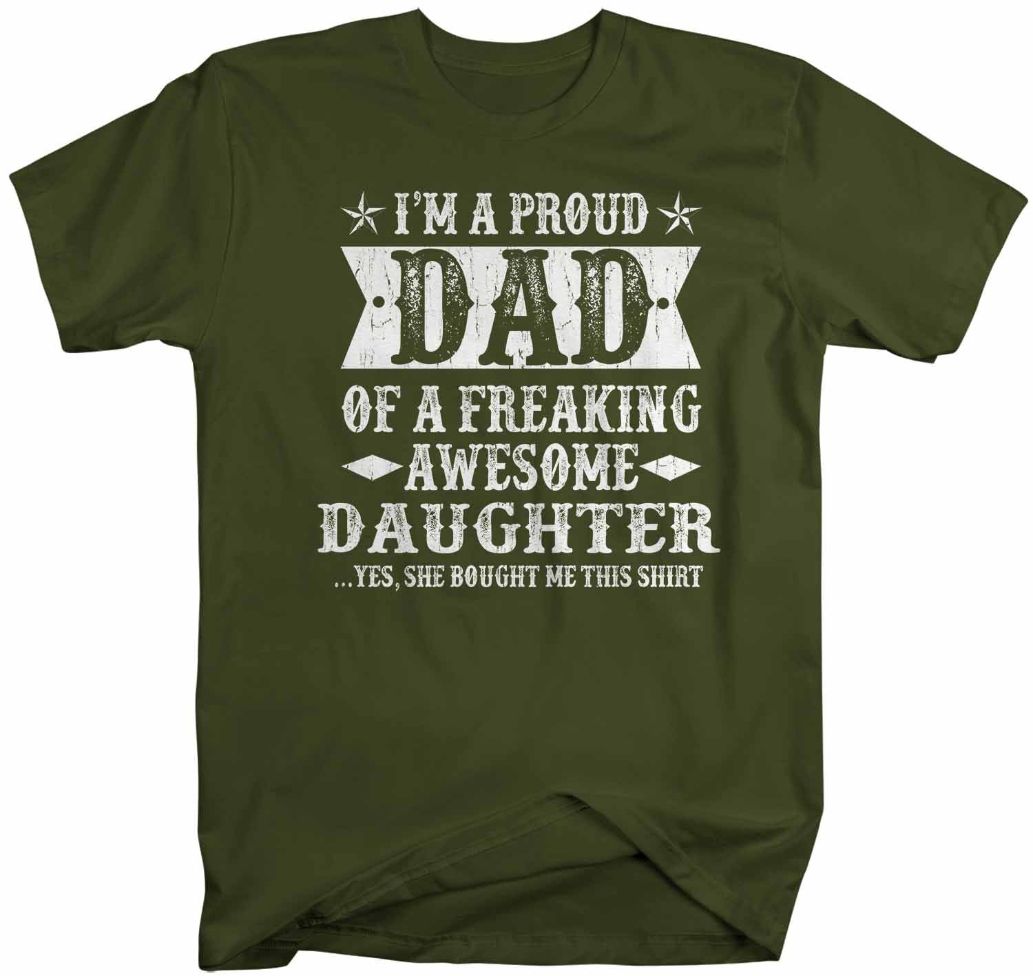Proud Dad Of Awesome Daughter Fathers Day Gift T-Shirt Adults Funny Black