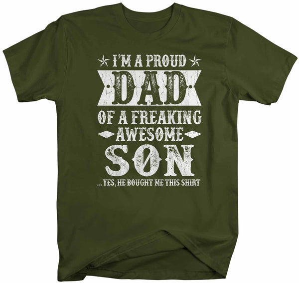 Men's Funny Proud Dad T Shirt Father's Day Gift Dad Of Freaking Awesome Son Shirt Funny Dad Gift Funny Dad Shirt-Shirts By Sarah
