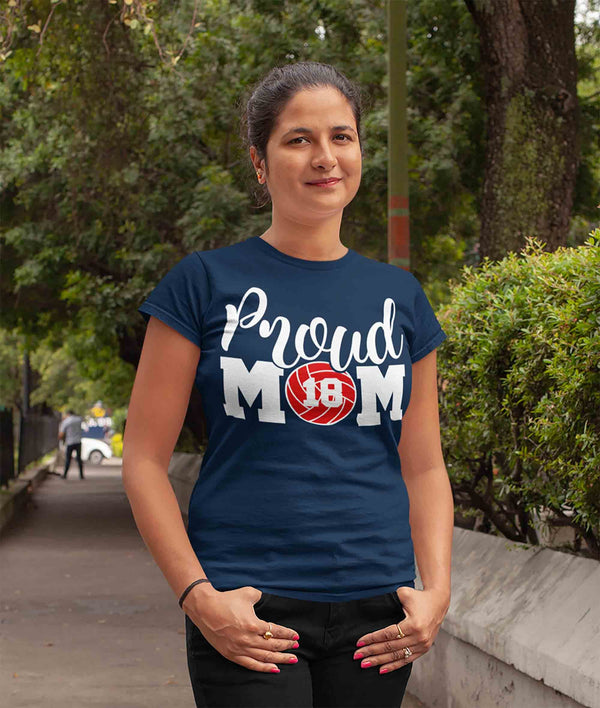 Women's Personalized Volleyball Mom T Shirt Proud Volleyball Mom Shirts Volleyball Mom Shirt Personalized Shirts-Shirts By Sarah
