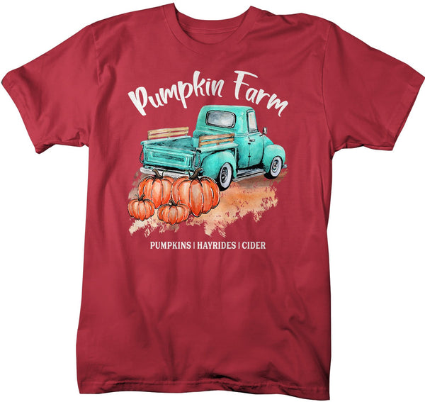 Men's Pumpkin Farm T Shirt Fall Shirts Pumpkin Shirt Pumpkins Festive Fall Truck Shirt Watercolor Fall Shirts-Shirts By Sarah
