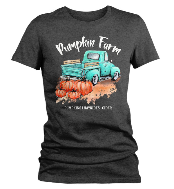 Women's Pumpkin Farm T Shirt Fall Shirts Pumpkin Shirt Pumpkins Festive Fall Truck Shirt Watercolor Fall Shirts-Shirts By Sarah