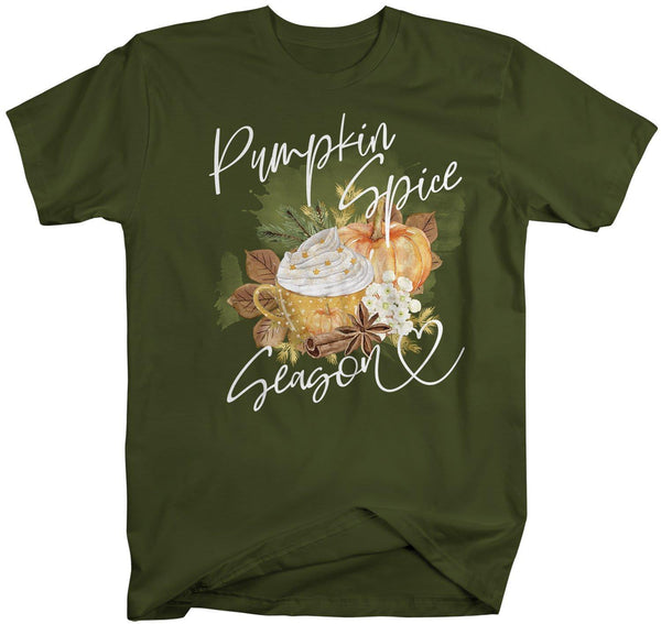 Men's Pumpkin Spice T Shirt Pumpkin Spice Season Shirt Pumpkin Spice Shirts Leaves Pretty Watercolor Fall Shirt-Shirts By Sarah