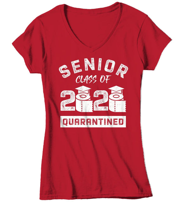Women's V-Neck Senior Class 2020 T Shirt Senior Quarantine Shirt Senior 2020 Shirt Quarantined Senior Shirt Grad Shirt-Shirts By Sarah