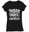 Women's V-Neck Funny Camping Shirt Queen Of The Campground T Shirt Camper Pull Behind RV Camp 5th Wheel Camping Humor Saying Tee Ladies V-Neck