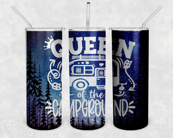 Funny Camping Tumbler Skinny Water Queen Of The Campground Camper RV Pull Behind Stainless Steel Straw Vacuum Insulated Gift Idea-Shirts By Sarah