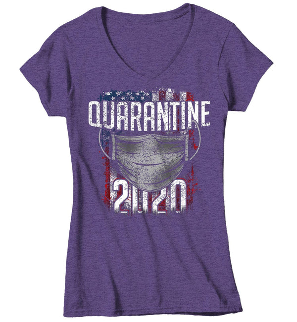 Women's V-Neck United States Quarantine 2020 T Shirt US Patriotic Shirt-Shirts By Sarah