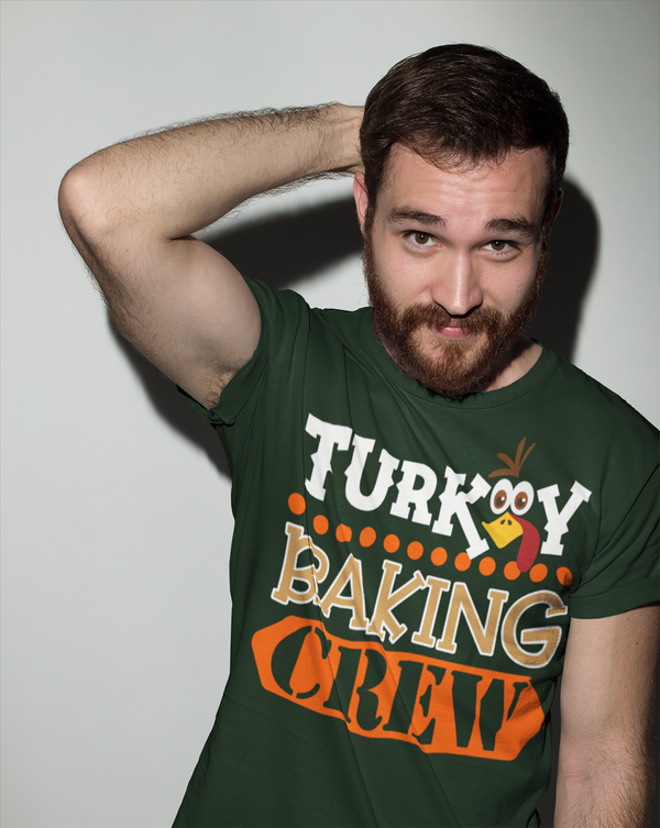Men's Funny Thanksgiving T Shirt Turkey Baking Crew Shirt Turkey Shirts Thanksgiving Shirts Matching Tees-Shirts By Sarah