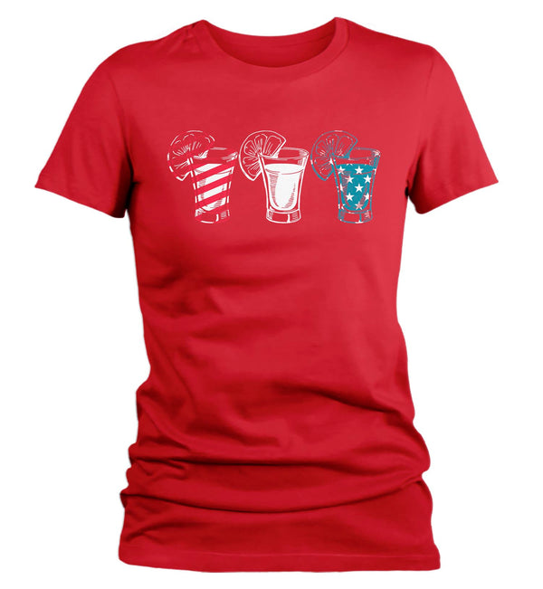 Women's Funny 4th July T Shirt Tequila Shirt Party Shirt Independence Day Shirt Shots Shirt Drinking Tee-Shirts By Sarah