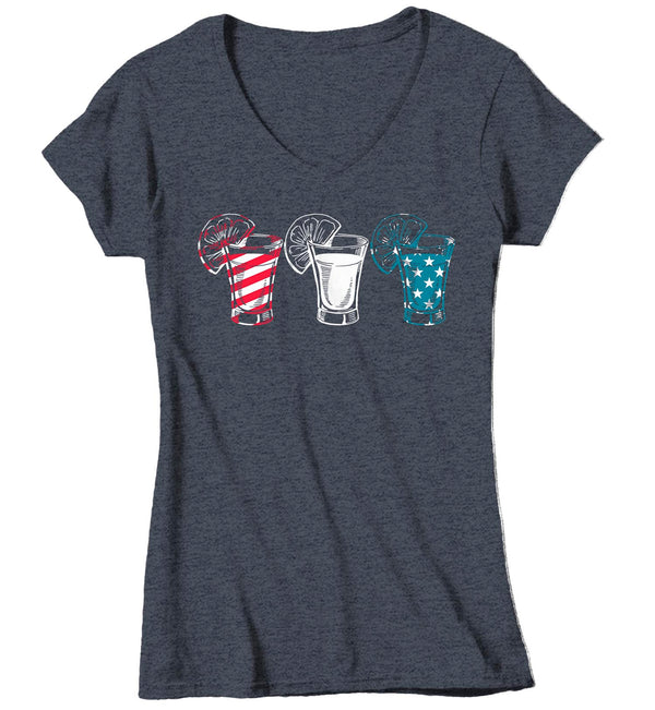 Women's V-Neck Funny 4th July T Shirt Tequila Shirt Party Shirt Independence Day Shirt Shots Shirt Drinking Tee-Shirts By Sarah