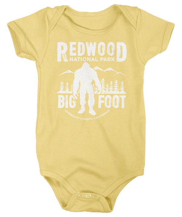 Baby Bigfoot Bodysuit Redwood National Park Creeper California Snap Suit Yeti Sasquatch Babies Forest Boy Girl Bigfoot Gift-Shirts By Sarah
