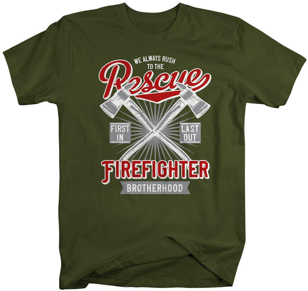 Men's Rescue Firefighter T Shirt Vintage Fireman Shirts Firefighter Shirts First In Last Out Shirts-Shirts By Sarah