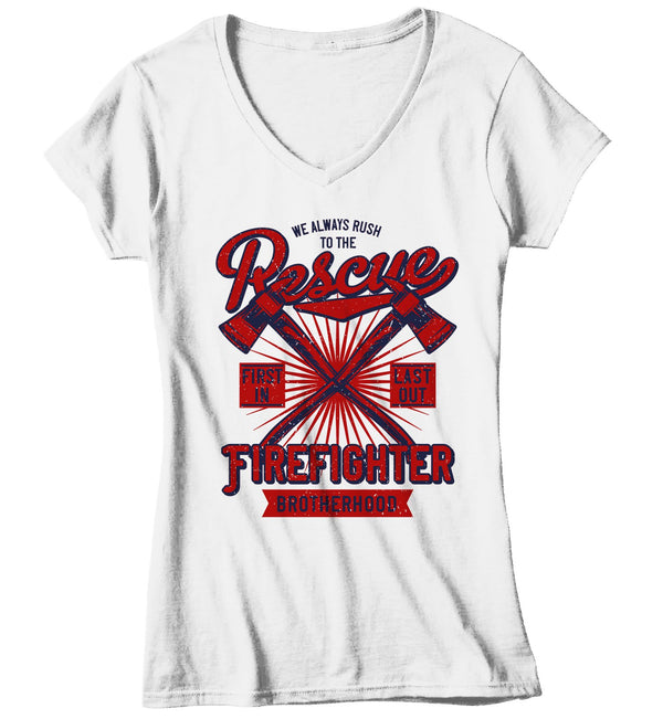 Women's Rescue Firefighter T Shirt Vintage Fireman Shirts Firefighter Shirts First In Last Out Shirts-Shirts By Sarah